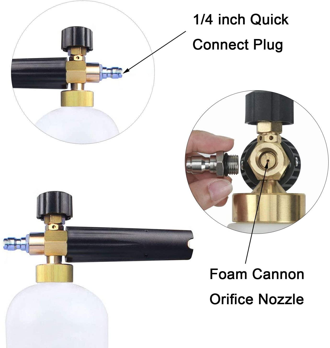 Snow Foam Lance 1.25 mm Foam Cannon Orifice Nozzle Tips, Universal Thread Nozzle Tips, 4000 PSI, 2-Pack